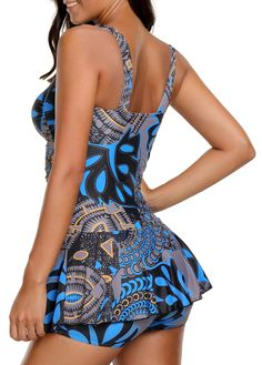Ruched Printed Padded Spaghetti Strap Swimdress on sale only US$32.42 now, buy cheap Ruched Printed Padded Spaghetti Strap Swimdress at liligal.com