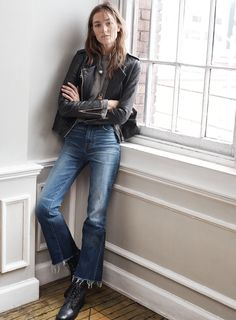 "madewell 11"" high riser crop flares worn with the washed leather epaulet jacket, ribbed funnelneck top, inlaid token necklace + the foothill boot. #denimmadewell"