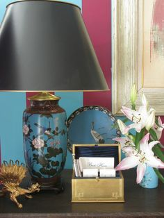 Eddie Ross made lamps from two matching cloisonne vases... I love them and the black shades.
