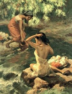 Lavandera series by Fernando Amorsolo Bali Painting, Figure Painting, Filipino Art, Filipino Culture, Philippine Art, Philippines Culture, Indonesian Art, Indian Art Paintings, Historical Art