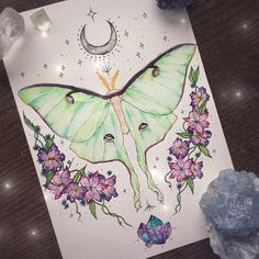 Luna moth tattoo commission ✨contact me if you'd like to commission one!