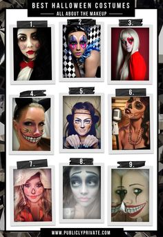 Best Halloween Costumes and DIY Makeup-- Ventriloquist doll, sexy clown, queen of hearts, cheshire cat, faun, sugar skull, scarecrow, corpse bride, scary doll