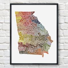 Georgia Typography Map Print on Bourbon & Boots #georgia