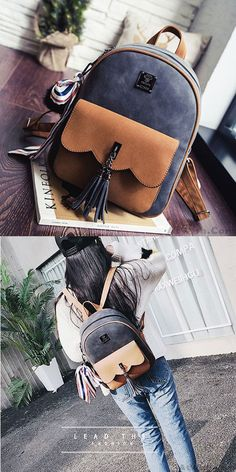 Leisure Tassel Splicing School Backpack Contrast Color Frosted Girl's Backpack for big sale! #tassel #splicing #college #Backpack #bag #school #student #fashion #travel #leisure