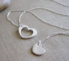 Mother Daughter Heart Necklaces Recycled Silver Heart Necklace Set , $76.0