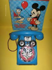 VTG JIMMIE DODD/ MICKEY MOUSE TALKING TELEPHONE TIN TOY WALT DISNEY PRODUCTIONS