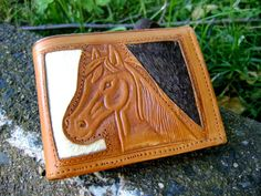 Wallet Horse Rose Vintage Tooled Leather Mexico by VintageVigo, $40.00