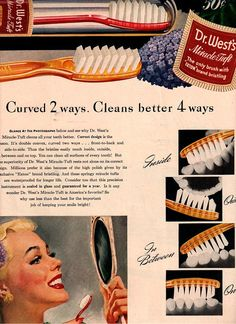 Vintage pinup dentist tooth brush c.1946 by FrenchFrouFrou