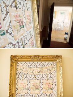lace + gold frame seating plan. nice.