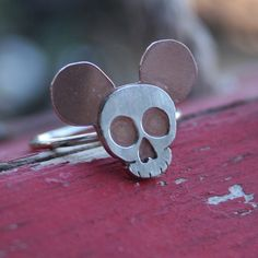 Goth Mickey Ring  Made to Order by thenay on Etsy, $38.00