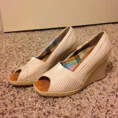 Tan striped wedges **like new!** Tan and white striped wedges size 8/9 from Rue 21! Darling shoes, barely worn. They just don't fit me. Great condition! Please feel free to make offers!  Rue 21 Shoes