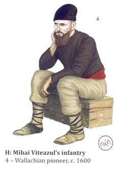 Wallachian pioneer, c. 1600 Army Uniform, Medieval Clothing, 16th Century, Folklore, Warfare, Warriors, Renaissance, Ottoman, Military History