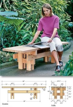 Japanese Garden Bench Plans - Outdoor Furniture Plans and Projects | WoodArchivist.com (Muebles Diy Ideas)