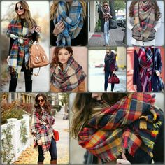 How to wear a plaid blanket scarf