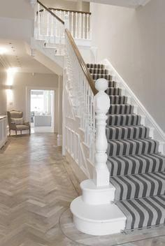 Extensive range of parquet flooring in Edinburgh, Glasgow, London. Parquet flooring delivery within the mainland UK and Worldwide. House Design, House Styles, Hall Flooring, Staircase Design, Deck Stairs, Edwardian House, White Stairs, Hallway Decorating, Stairways