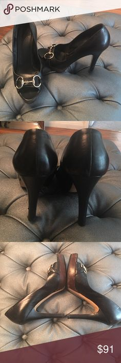 Gucci Heels Black leather Gucci heels with logo locket in front. Chocolate Wooden and black combo  has some scratches and scuffs on soles and leather but still in good condition. Purchased for 695. Gucci Shoes Heels