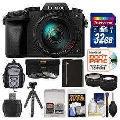 Panasonic Lumix DMC-G7 4K Wi-Fi Digital Camera & 14-140mm Lens with 32GB Card + Backpack + Battery + Flex Tripod + Filters + Tele/Wide Lens Kit. KIT INCLUDES 12 PRODUCTS -- All BRAND NEW Items with all Manufacturer-supplied Accessories + Full USA Warranties:. [1] Panasonic Lumix DMC-G7 4K Wi-Fi Digital Camera & 14-140mm Lens + [2] Transcend 32GB SDHC 300x Card + [3] Spare DMW-BLC12 Battery +. [4] PD Mini Sling Backpack + [5] PD-T14 Flexible Camera Tripod + [6] PD 2.5x Tele & .45x Wide…