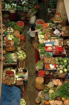 View from the top of this colorful Denpasar market