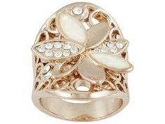 Monika Friend Designs(Tm), Swarovski Elements(Tm) And Shell 18k Rose Gold Over Bronze Flower Ring