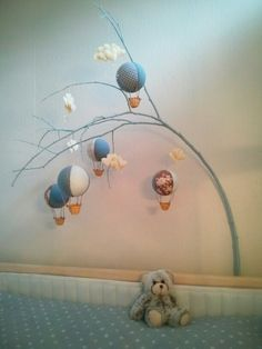 homemade baby mobile, hot air balloons