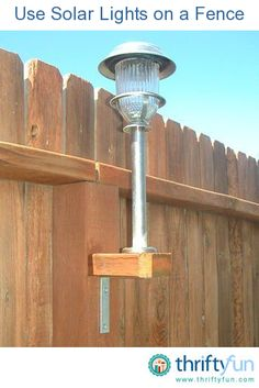 "Great idea for a back yard: Use solar lights on the fence. Take a and cut them into squares to fit the existing fence posts. Using galvanized screws - not nails - to screw a ""L"" bracket to the underneath base. Then on top, screw on the stake. Diy Garden, Lawn And Garden, Home And Garden, Outdoor Projects, Home Projects, Outdoor Lighting, Outdoor Decor, Fence Lighting, Backyard Lighting"