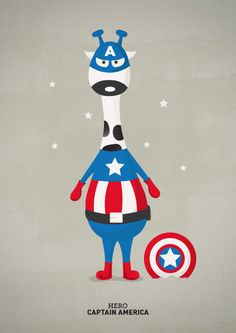 Superhero Giraffe - Captain America is my favorite!