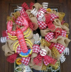 BURLAP CRAWFISH WREATH by decoglitz on Etsy
