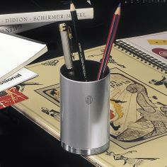 OfficeAccessories.com - Metallic Grey & Chrome Pencil Holder