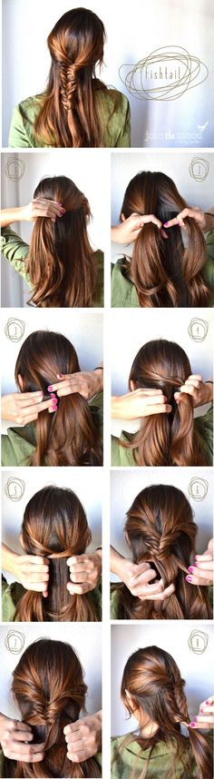 Hairstyling Step-By-Step Pictorial: Fishtail Well I know how to do it, but I've never tried it half-up half-down! Let's do ittt! :D