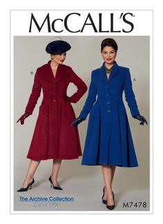 McCall's Archive Collection sewing pattern. M7478 Misses'/Miss Petite Fit and Flare, Shawl Collar Coats. Original pattern circa 1956.