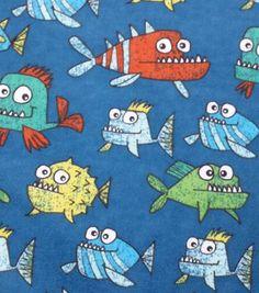 Snuggle Flannel Fabric Happy Piranhas