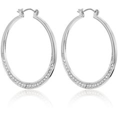 White House Black Market Womens Silvertone Pave Hoop Earrings ($30) ❤ liked on Polyvore