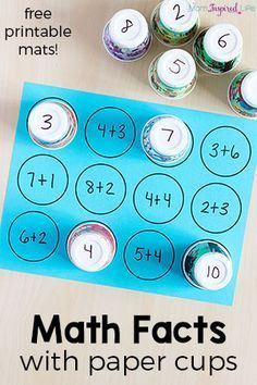 Math facts activity with paper cups. A simple way for kids to learn math facts. Math facts activity with paper cups. A simple way for kids to learn math facts. Math for Kids Math For Kids, Fun Math, Simple Games For Kids, Number Games For Kids, Lego Math, Kids Fun, Math Stations, Math Centers, Math Skills