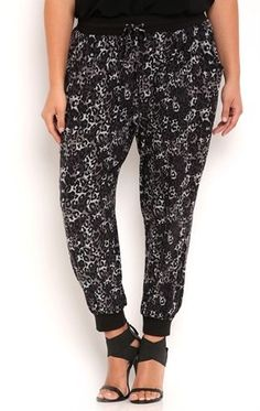 Deb Shops Plus Size Jogger Pants with Distressed Cheetah Print $11.00