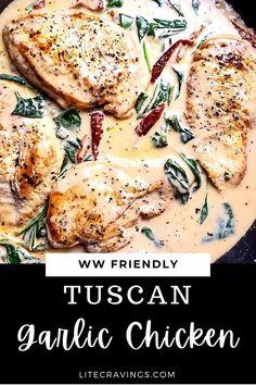 Skinny Recipes, Ww Recipes, Chicken Recipes, Dinner Recipes, Healthy Recipes, Recipies, Weight Watchers Chicken, Weight Watchers Meals, Tuscan Garlic Chicken