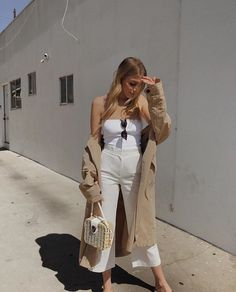 All white outfit. Culottes. Trousers. Khaki trench coat. Long line. Women's work stylish polished outfit. Spring summer. Minimal. Chic. Style ideas inspiration.