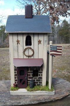 Primitive Americana Lighted Farmhouse Birdhouse from Gooseberry Creek Designs