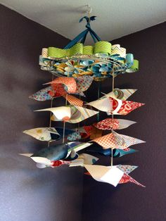 Oh Boy Green/Blue Paper Baby Mobile / Chandelier by MerciMaude, $40.00