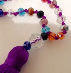 Multicoloured Balinese Mala Necklace-Glass Beads by JennPetersShop