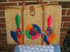 Vintage Mexico Bag that is Fabulous, Colorful, Handwoven, and ready to Carry your Things to the BEACH, VIVA Mexico!!!!!! by PatsyTexasRose on Etsy