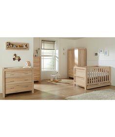 Tutti Bambini Milan 6 Piece Room Set (Cot, Chest, Wardrobe, Tallboy, Shelf, Mattress) - Reclaimed Oak.