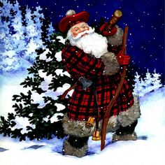 Traditional watercolors of Christmas, Family, Holidays, scenery, and Santa
