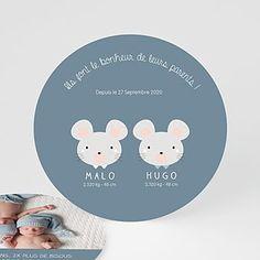 Faire-Part Naissance Jumeaux - Souris jumeaux | Carteland.com About Me Blog, Being A Mom, Tooth Fairy, Bebe