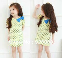 Top venta! Amarillo punto azul de moda niños vestidodeniña venta al por mayor de ropa de niños lindo azul