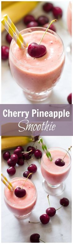 Cherry Pineapple Smoothie - This cherry pineapple smoothie takes just minutes to make and is a great nutritional breakfast option.
