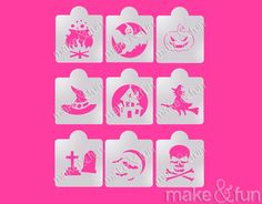 Make and Fun Stencils - 9 pcs Halloween, Cookie Stencil, Cake stencil Halloween Stencils, Halloween Bats, Halloween Cookies, Airbrush T Shirts, Ghost Cookies, Cake Stencil, Custom Stencils, Kirigami, Cookie Decorating
