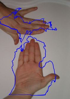 If you've lived in Michigan, you know the hand thing!  Thank you to Lisa McDonald for finding this one