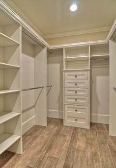 Closet ideas : Love the left side with the shelving and dual rods and the usage of the corner space!