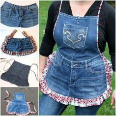 Farm Girl Apron Tutorial from Recycled Jeans. Step-by-step tutorial for how to make an apron from an old pair of recycled jeans. Jean Crafts, Denim Crafts, Artisanats Denim, Denim Purse, Denim Skirt, Jean Apron, Apron Tutorial, Cute Aprons, Denim Ideas