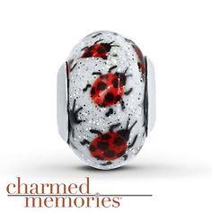 Charmed Memories Ladybug Murano Glass Sterling Silver Charm